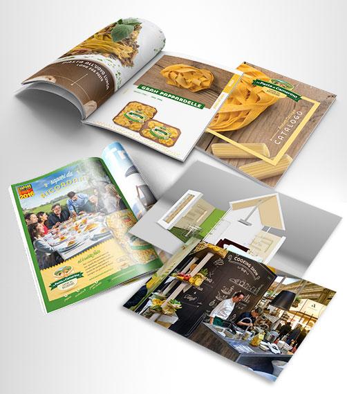Campagna stampa, catalogo, company profile, allestimento stand CIBUS